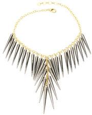 Amrita Singh Gunmetal Spike Bib Gold Tone Necklace NKC 7000 NWT