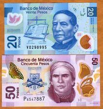 SET Mexico, 20;50 Pesos, 2011-2015, POLYMER, P-New, UNC