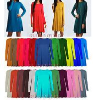 Womens Swing Skater Dress Ladies A Line Skater Top Flared Swing Dress Sizes 8-26