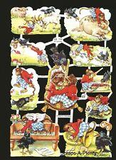 German Embossed Scrap Die Cut Relief - Monkey Business Playing Animals    EF7049