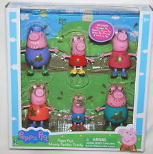 PEPPA PIG & MUDDY PUDDLES Family Play 6 Figure Set GRANDPA GRANNY George *NEW*