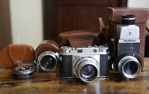 Voigtlander PROMINENT 35mm Camera Nokton 50mm, Telomar 100mm, Skopar 35mm, Cases