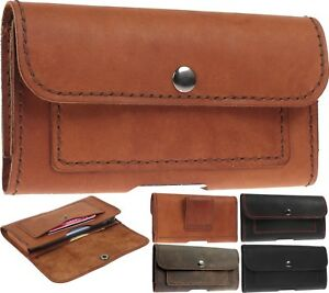 LEATHER HAND STITCHED WAIST POUCH CASE COVER WITH CARD POCKETS FOR MOBILE PHONES