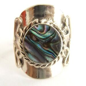 OVAL AND ROUND ABALONE SHELL ALPACA SILVER RING ADJUSTABLE SIZE FILIGREE STYLE