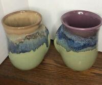 "Handmade Handwarmer R & L Handed  Ceramic Coffee Mugs Set Of 2 ""pocket handles"""