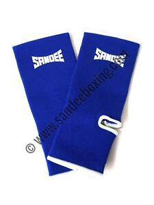 Sandee Premium Blue & White Ankle Supports (PAIR) MMA Muay Thai Boxing Sport