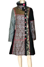 DESIGUAL sz 38 S WOMENS COAT JACKET GEOMETRIC PATCHWORK WOOL WOOLEN SHINY