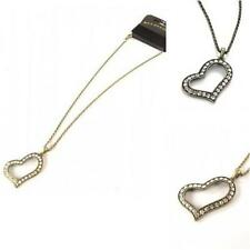 New On Card Burnt Gold Crystal Heart Pendant Chain Necklace 25cm chain