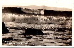 Real Photo Postcard Surf Breaks in Laguna Beach, California~139805