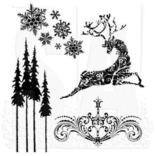 Tim Holtz Stampers Anonymous Reindeer Flight Unmounted Rubber Stamp Set CMS052