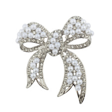 Lux Accessories Silver tone Pearl and Pave Rhinestone Casted Bow Brooch Pin