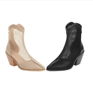 Women's Pointed Toe Hollow Out Sandal Boots Block High Heel Bootie Leather Shoes