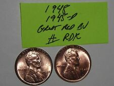 wheat penny 1948 P & D SET GREAT RED BU 1948-D,1948-P LOT LINCOLN CENT MS++