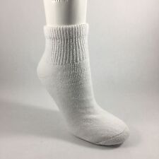 New Diabetic Women's White Quarter Cut Socks 91% Cotton 3 Pairs Size 9-11