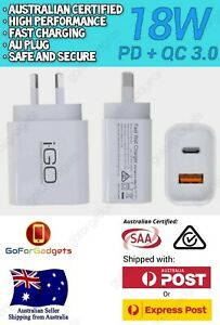 Genuine iGO 18W USB-C PD Fast Wall Charger Adapter For Apple iPhone Android