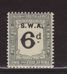 1928 SWA opt On South Africa 6d Postage Due With 2 Flaws SGD41var