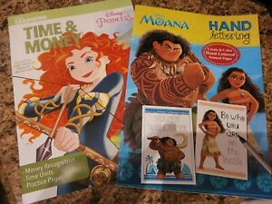Lot Of 2 Disney Bendon Writing Time Money Recognition Moana Princess