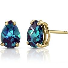14k Yellow Gold PEAR Shape 1.75 Carats Created ALEXANDRITE Stud Earrings