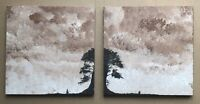 Original Art Pair Of Oil On Canvas Paintings Abstract Landscape By D Chadwick