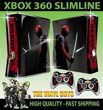 XBOX 360 SLIM STICKER DEADPOOL MERCENARY WADE WINSTON WILSON SKIN & 2 PAD SKINS