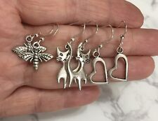 Silver Plated Cat Heart Dragon Fly 3 Pairs Kids Or Adults Earrings