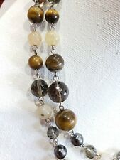 Faceted GLASS BEAD tiger eye faux gray pearl natural stones NECKLACE 2 Strands
