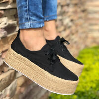 Women Ladies Low Flat Canvas Espadrilles Lace Up Trainers Platform Comfort Shoes