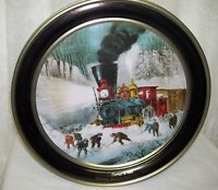 Currier and Ives Tin box American Railroad Scene Snowbound Train