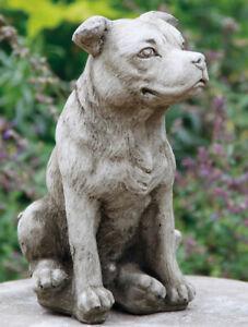 Staffordshire Bull Terrier Dog Stone Statue | Animal Pup Outdoor Garden Ornament