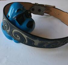 New Tony Lama Made USA Blue / Gray Leather Belt Size 28 #60607