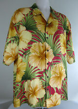 TOMMY BAHAMA Mens Shirt Sz LARGE Red Gold Green Floral 100% Silk Button Front