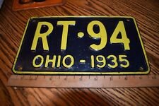 Vintage Black with Yellow Letters / Numbers Ohio 1935 License Plate Rt 94