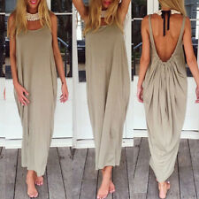 UK STOCK Women Sleeveless Sexy Backless Bikini Baggy Party Beach Long Maxi Dress