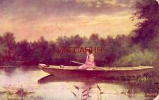 artist KENYON - DOWN ON THE SUWANUEE RIVER young lady in jon boat 1908