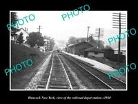 OLD LARGE HISTORIC PHOTO OF HANCOCK NEW YORK, THE RAILROAD DEPOT STATION c1940