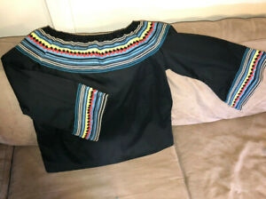 Authentic Seminole NEW Patchwork Black Peasant Blouse