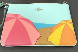 Coach Gallery Pouch With Umbrella, Beach Motif New