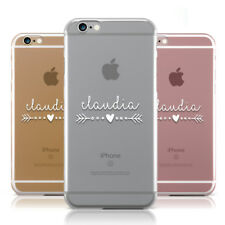 PERSONALISED WHITE NAME HEART & ARROW CLEAR PHONE CASE COVER FOR APPLE IPHONE