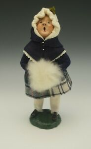 BYERS' CHOICE 1983 VINTAGE BUMPY BASE GIRL CHILD WITH MUFF CAROLER SIGNED