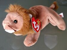 Ty Beanie Babies-Roary The Lion-Mint Condition-1996 Pvc Retired- Plush