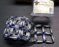 "Lattice Bead Christmas Garland 6 Feet Silver Navy Blue Holiday 1.25"" Square New"