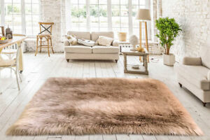 Lambzy FAUX  Square Sheepskin,Silky Shaggy Rug,Soft Touch Fur -CAMEL color