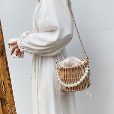 Rattan Straw Bag Boho Crossbody Beach Handbag Shoulder Bags Bucket Bag Purse