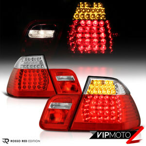 "2002-2005 BMW E46 3-Series 325 330 Sedan ""Factory RED"" LED Tail Lights Lamp Pair"