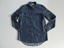 NWT C&C California Dark Blue Tencel Chambray Roll Sleeve Button Down Shirt S