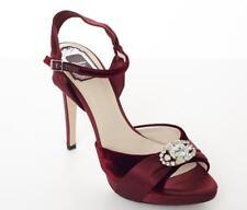 CHRISTIAN DIOR Velvet Burgundy High Heel Crystal Strappy Pump Shoe 9.5-39.5