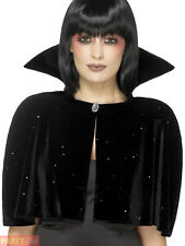 Ladies Evil Queen Vampire Cape Witch Black Halloween Mini Cloak Fancy Dress