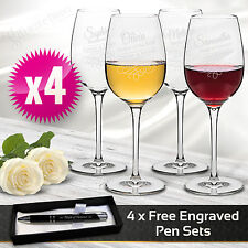 4 X Personalised Wine Glasses 360ml Engraved Glass Wedding Gift Bridesmaid Favor