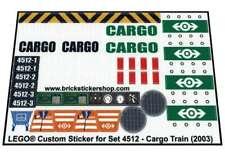 Precut Custom Replacement Stickers voor Lego Set 4512 - Cargo Train (2003)