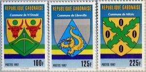 GABON GABUN 1997 1340-42 Gemeindewappen Wappen Coat of Arms Mitzic Libreville **
